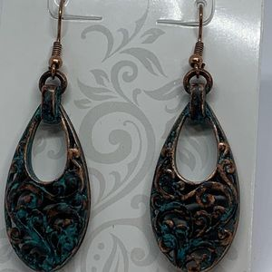 Aged bronze with patina hook dangle earrings